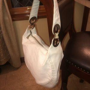 Escada white leather hobo bag